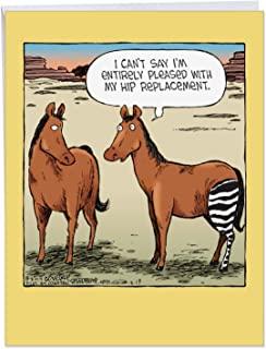 Hilarious 'Horse Hip Replacement Get Well' Card with Envelope 8.5 x 11 Inch - Horse Gets Successful But Wrong Hip Replacement Get Well Soon Card - Animal Stationery J1770GWG