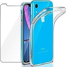 """Cover iPhone XR Custodia + Pellicola Protettiva in Vetro Temperato, Leathlux Morbido Trasparente Silicone Custodie Protettivo TPU Gel Sottile Cover per Apple iPhone XR 6.1"""" (NON per XS MAX o XS)"""