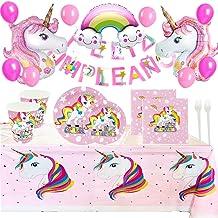 Kit de Artículos para Fiesta Cumpleaños Infantil Niña Unicornio - Vajilla Desechable Rosa y Decoración - Incluye Platos,Vasos,Mantel,Servilletas,Tenedores,Globos y Guirnalda - 16 Invitados