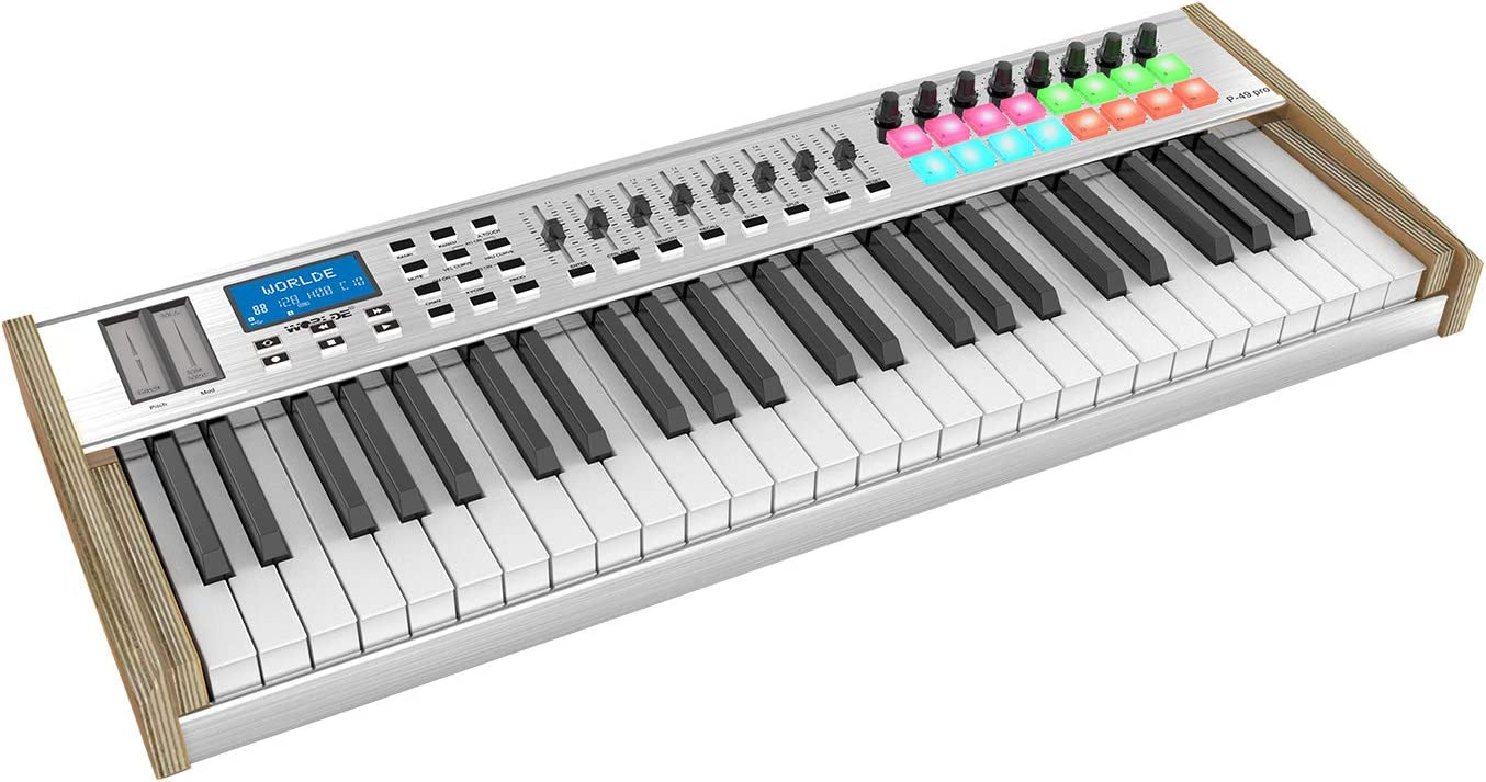 WORLDE P-49 Pro 49-Key USB MIDI Keyboard Controller LCD Display with 49  Semi-weighted Keys 16 RGB Backlit Trigger Pads 8 Assignable Sliders for  Music Studio Stage Live Performance: Buy Online at Best