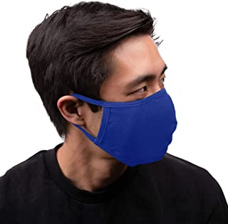 Aulin� Collection 2PK Made in USA Cotton Fabric Washable Reusable Filter Pocket Face Mask, Royal Blue 2 PK