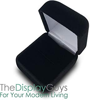 The Display Guys Velvet Gift Jewelry Ring Box Presentation Display Metal Hinge, Comes with White Two Piece Packer (2 1/8x1 7/8x1 1/2 inches Black)