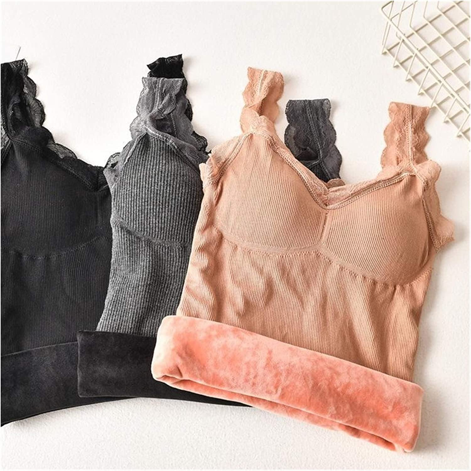 Glqwe Winter Tops Women Thermal Underwear Comfortable Keep Warm Tank Top Sexy Slim Female Vest Lace V-Neck (Color : Khaki, Size : One Size)