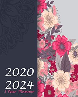 5 Year Planner 2020-2024: Girly Floral, 60 Months Appointment Calendar, Agenda Schedule Organizer Logbook, Business Planners and Journal With Holidays and inspirational Quotes