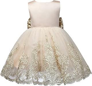 ZTXHRS Baby Girl Dress Golden Princess Ball Gown Birthday Party Dresses Wedding Flower Girl Dress