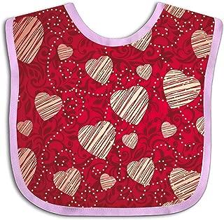 Baby Drool Bibs, Bandana Cotton Bib - Vector Heart Art Adjustable Snap for Babies & Toddlers