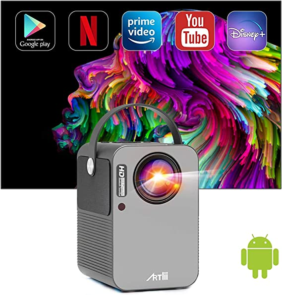 """Proiettore Smart Android TV 9.0 Artlii Play Pro Mini Proiettore Videoproiettore Wifi Bluetooth Correzione 4D ± 45° AC3 Stereo 200"""" Home Theater con Netflix, Prime Video, Disney+"""