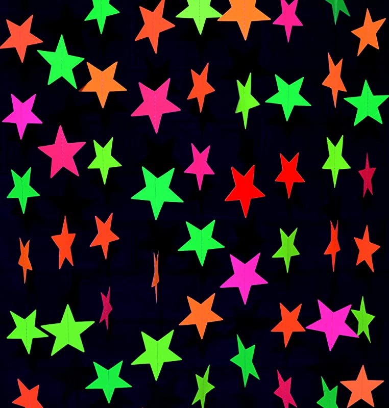 Midnight Glo Black Light Party Supply 78ft Neon Star Garland Hanging Decorations For Birthday Party Wedding Decorations Black Light Reactive UV Glow Party 6 Pack