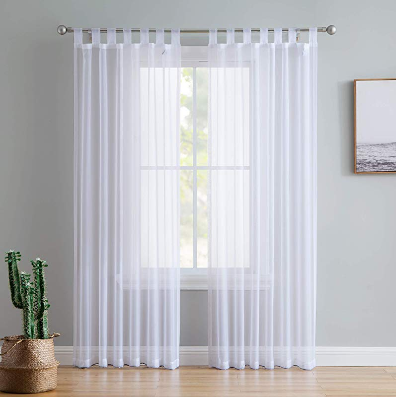 HLC ME White Tab Top 54 Inch X 84 Inch Long Window Curtain Sheer Voile Panels For Living Room Bedroom Set Of 2