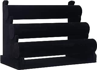 Kurtzy Expositor de Joyas - 3 Niveles Organizador de Pulseras 31x18x26cm (LxPxA) Expositor de Terciopelo con Barras Desmontables - Soporte Almacenar Joyas para Pulseras, Brazaletes y Relojes (Negro)