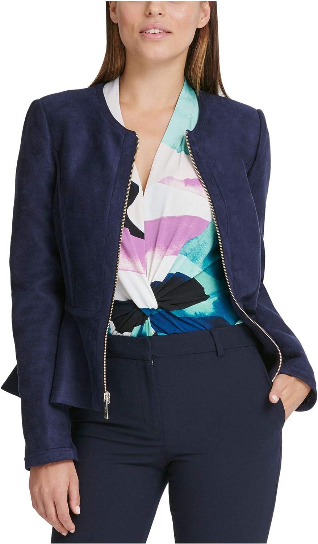 DKNY Womens Faux Suede Lightweight Peplum Jacket