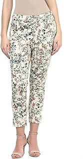109 F Women Blended Cotton Green Print Trouser