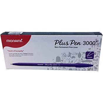 Monami Plus Pen 3000 Fine Sign Pen Felt Tip Water Based Ink [Pack of 12] - Purple