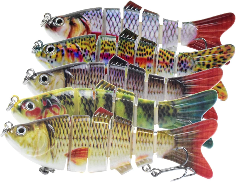 D-GROEE 5Pcs Fishing Ranking TOP4 Lure 6 Jointed Lifelike outlet Swim Multi Segment