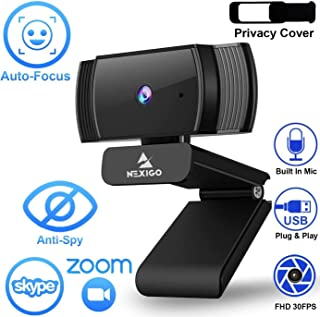 NexiGo AutoFocus 1080p Webcam with Microphone and Privacy Cover, Noise Reduction, HD USB Web Camera, for Online Class, Zoom Meeting YouTube Skype FaceTime Hangouts, PC Mac Laptop Desktop