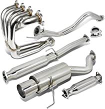 Stainless Steel 4.5 inches Muffler Tip Exhaust Catback+Header Manifold+Pipe for Honda Civic 96-00 Hatchback
