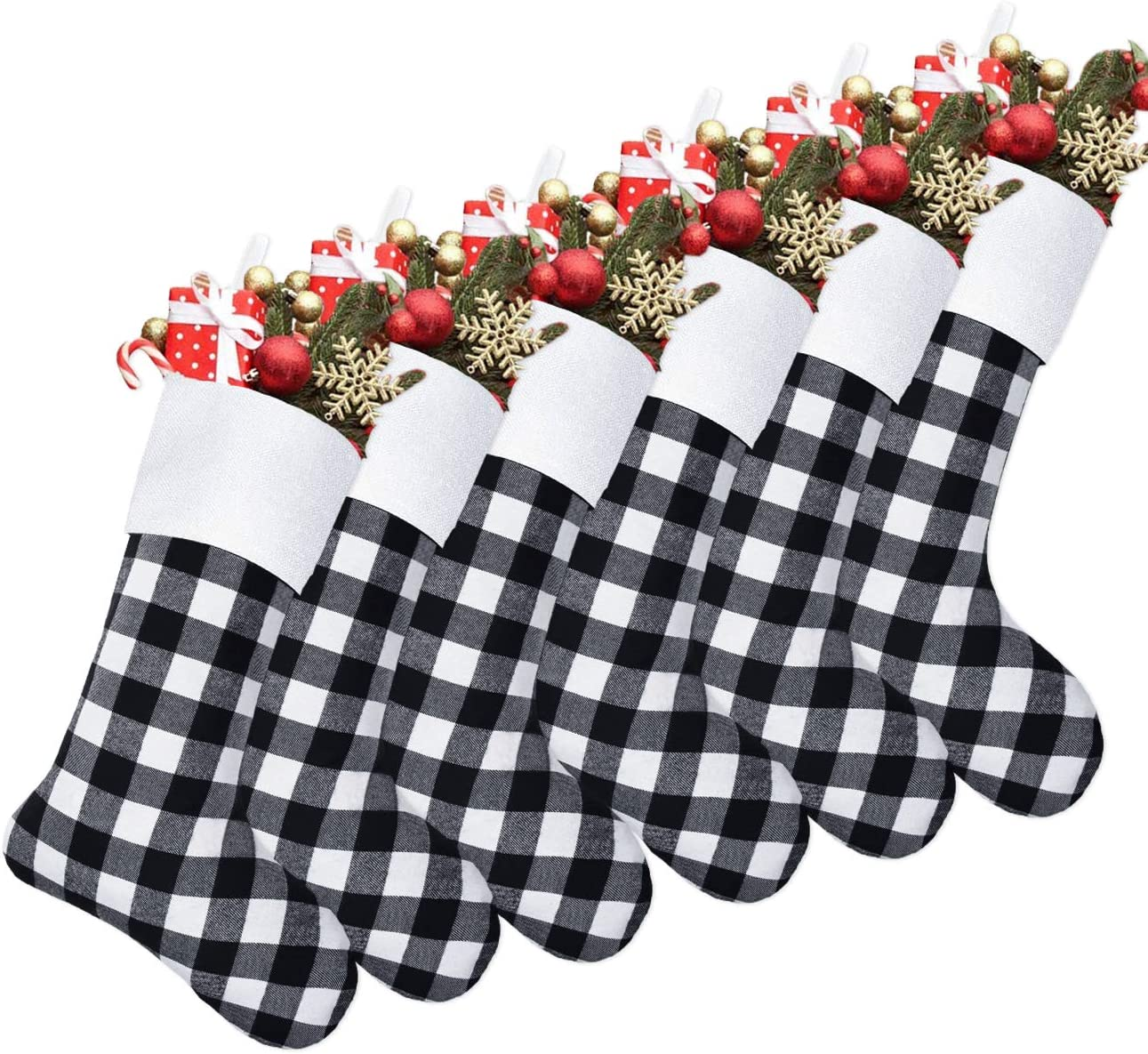 Senneny 6 Pack Christmas At the price Stockings- Buffalo Black White favorite 18 Inch