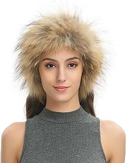 Ferand - Elegante Cinta para Cabeza en Piel de Mapache Tejida para Invierno Caliente - Mujer