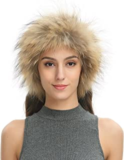 Women's Soft Warm Real Raccoon Fur Headband, Convertible Thick Neck Snood Scarf for Winter