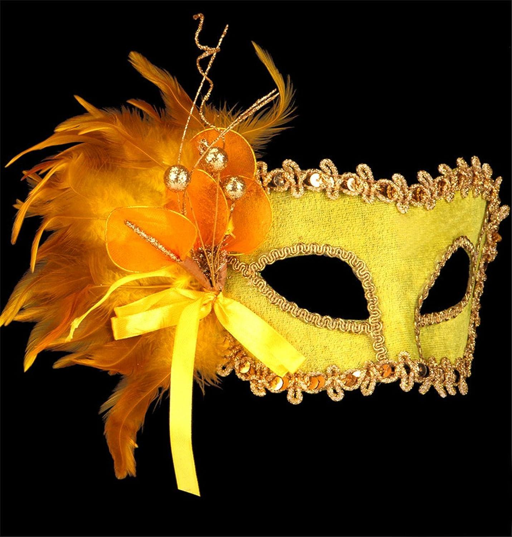 JinYiDian'Shop-Halloween Maske Make-up Dance Show gemalte Prinzessin schöne Maske Flanell Federn, Golden B075T3D8D8 Am wirtschaftlichsten  | Qualität Produkte