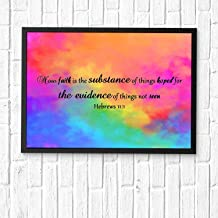 HaiGuoQu Now Faith is The Substance of Things Hoped for, The Evidence of Things not seen,Wall Décor, Religious Bible Verses Inspire Poster Wall Art Prints Framed 16x12in
