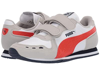 Puma Kids Cabana Racer SL Velcro (Little Kid) (PUMA White/Gray Violet/Cherry Tomato) Boys Shoes