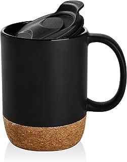 DOWAN 15 oz Coffee Mug Sets, Set of 2 Large Ceramic Mugs, with Insulated Cork and Splash Proof Mug Lid, Matte Black