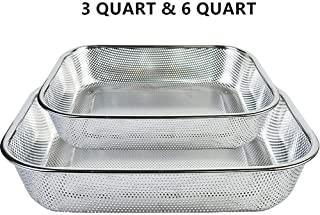 Strainers and Colanders Steam Table Pan Stainless Steel 2-piece Perforated Colander Strainer Set for Vegetable Fruit Fast Drainage