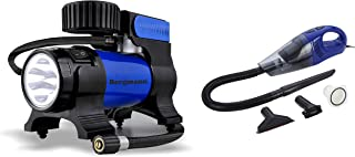 Bergmann Hurricane Hi-Power Car Vacuum Cleaner (Blue) & Bergmann Typhoon Heavy Duty Metal Car Tyre Inflator (Blue)
