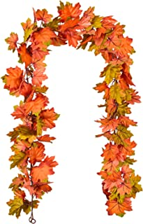 DearHouse 2 Pack Fall Garland Maple Leaf, 6Ft/Piece Hanging Vine Garland Artificial Autumn Foliage Garland Thanksgiving De...