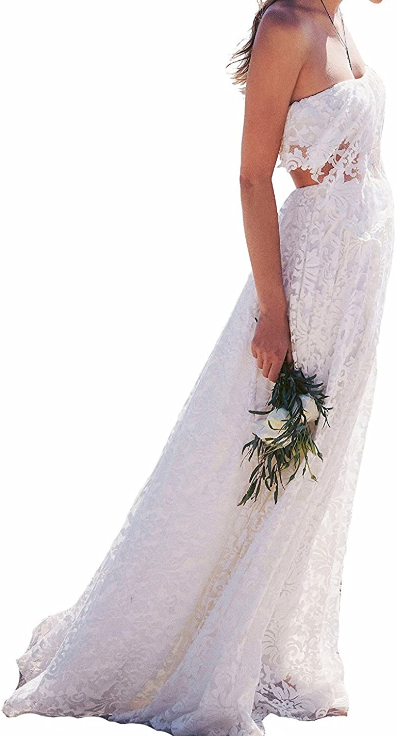 LISA.MOON Women's Two Pieces Strapless Simple Lace Beach Bohemian Wedding Dresses