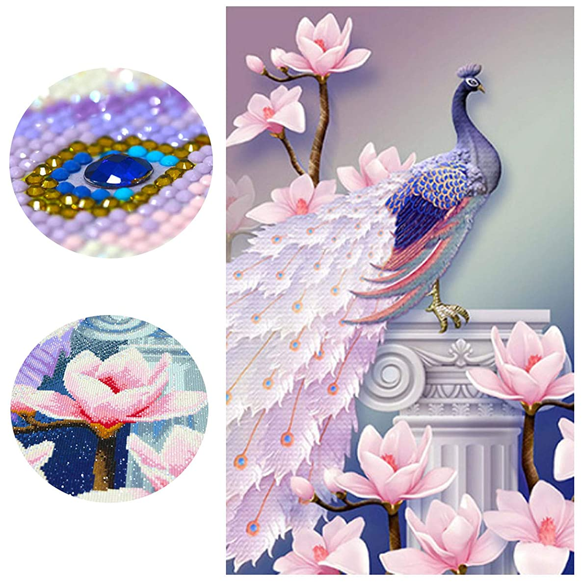 Diamond Painting Kits for Adults Full Drill 18X28'' 5D DIY Paint-by-Number Kits with Diamonds for Home Wall Decors - Peacock & Magnolia 45X70 cm