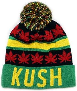 Sk1160 Kush Leaves Pom Pom Beanie Hats - Jamaica