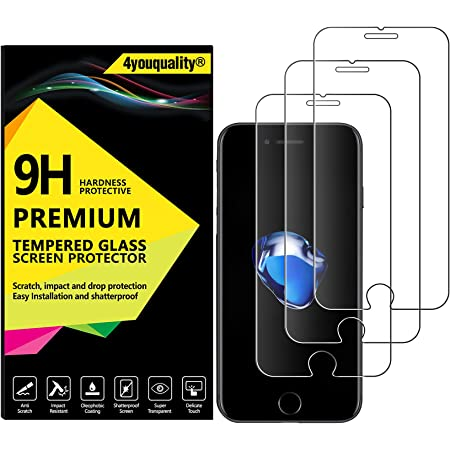 4youquality [3-Pack] iPhone 8 and iPhone 7 Screen Protector, Premium Tempered Glass Film [LifetimeWarranty][Scratch-Resistant][Anti-Shatter] Screen Protector for Apple iPhone 7 and iPhone 8