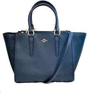 Coach F14928 Carryall Crossgrain Leather Satchel Crossbody Bag Midnight