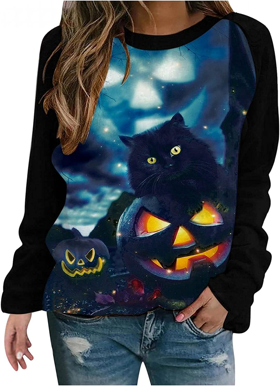 Fudule Crewneck Sweatshirts for Women, 2021 Trendy Halloween Shirt Cute Black Cat Pumpkin Print Pullover Loose Fit Tunic