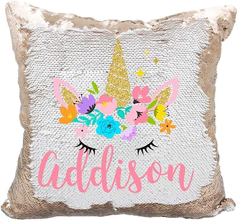 Linkes Personalized Mermaid Reversible Sequin Pillow Custom Unicorn Sequin Pillow For Girls White Rose Gold