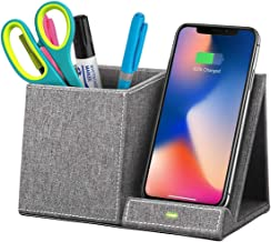 Boxio Wireless Charger Desk Organizer, Pen and Pencil Holder for Desk, Fast Wireless Charger, Compatible with Galaxy S10/S9/Note as 10W, iPhone X/XR/XS/9/8 as 7.5W, and All Qi-Enabled Phones as 5W