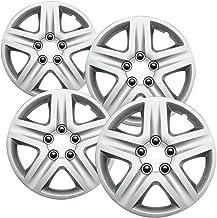 16 اینچ Hubcaps بهترین برای سال 2006-2013 Chevrolet Impala - (مجموعه ای از 4) پوشش چرخ 16in Hub Caps پوشش رینگ نقره ای - لوازم جانبی خودرو برای چرخ های 16 اینچ - ضربه محکم و ناگهانی در Hubcap، خودکار تایر تعویض بیرونی درب)