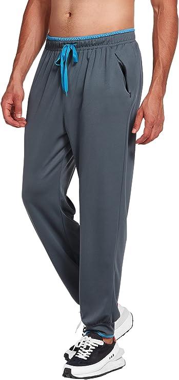 Deyeek Men's Joggers Sweatpants with Zipper Pockets Closed Bottom Mesh Lightweight Workout Running Athletic Pants