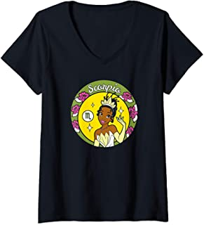 Femme Disney Princess Tiana Scorpio Zodiac T-Shirt avec Col en V