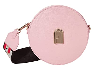 Furla Sleek Mini Crossbody Round (Rosa Chiaro/Toni Nero) Handbags