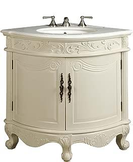 Benton Collection Antique White Bay-view Corner bathroom sink vanity Model BC030W-AW