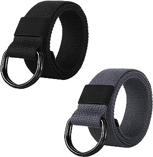 ITIEZY Canvas Web Belt Double D-Ring Buckle Military Belt for Men