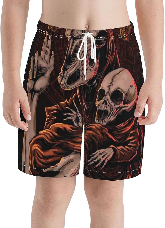 KAETZRU Boys Swim Trunks Beach Board Shorts Baphomet Satanic Goat Head Baby Skull Kids Summer Swimwear
