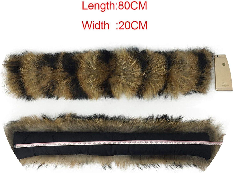 65cm 75cm 80cm 85cn 90cm 100% Natural Real Raccoon Collar Women Scarf Winter Coat Neck Cap Long Warm Genuine Real Sarf,80CM X 20CM