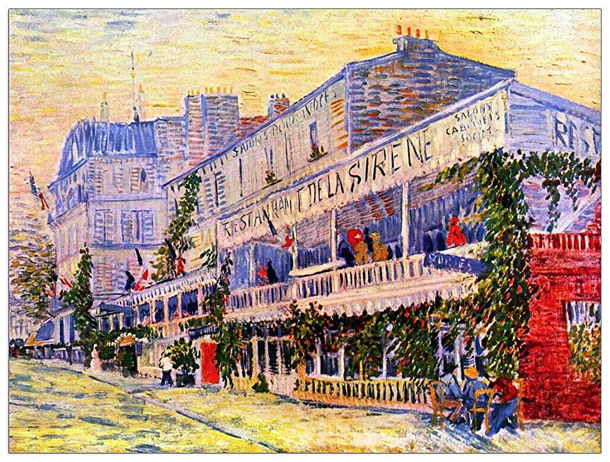 ArtPlaza TW90942 Van Gogh Vincent-The Restaurant de la Siren in Asnieìres Decorative Panel 35.5x27.5 Inch Multicolored