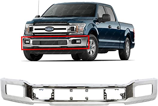 Amazon Com Bumpers That Deliver Chrome Steel Front Bumper Face Bar For 2018 2020 Ford F 150 W Fog 18 20 Fo1002430 Automotive