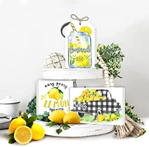 Lemon Tiered Tray Decor,Mini Lemon Lemon Kitchen Decor and Accessories,Rustic Farmhouse Wood Easy Peasy Lemon Squeezy Sign for Summer Home Decoration of Housewarming Gift Set of 3