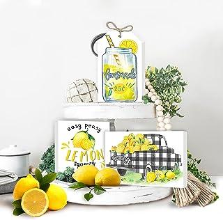 Lemon Tiered Tray Decor,Mini Lemon Lemon Kitchen Decor...